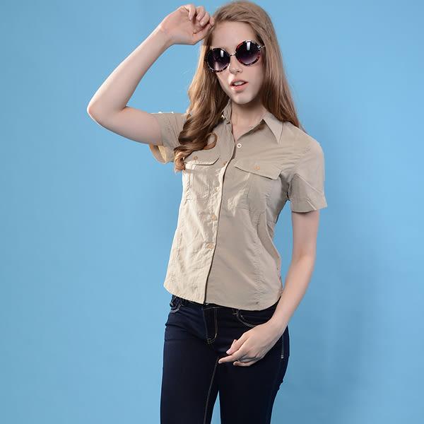 JORDON 吸濕快乾排汗登山短袖女襯衫2801