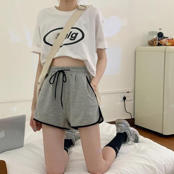 運動褲夏季寬鬆高腰鬆緊腰闊腿百搭顯瘦韓版學生運動褲薄款休閒短褲女 嬡孕哺