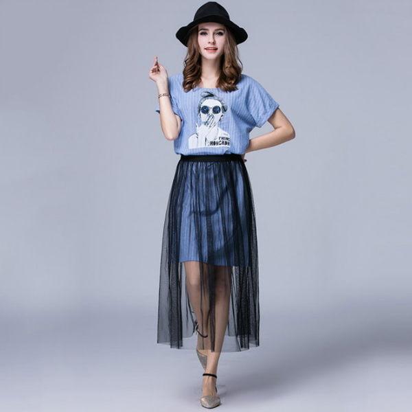 大尺碼 歐美時尚女孩印花直條紋網紗半身裙洋裝XL~5XL【紐約七號】A2-492