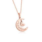 【5折超值價】【316L西德鈦鋼】日韓流行愛心月亮造型鈦鋼鎖骨鍊項鍊