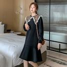 連衣裙.氣質豹紋蕾絲拼接魚尾裙長袖洋裝.白鳥麗子