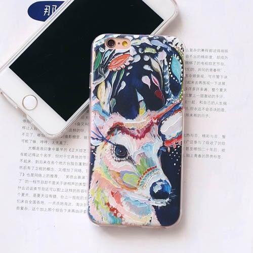 🍏 iPhoneXs/XR 蘋果手機殼 可掛繩 文藝繽紛梅花鹿 浮雕軟殼 i8/i7/i6sPlus/i5
