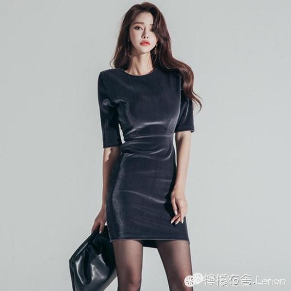 春款女裝五分袖小禮服名媛氣質高貴修身性感包臀裙絲絨洋裝