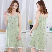 夏季吊帶睡裙女士碎花性感吊帶人造棉綢水洗布薄款裙子家居服睡衣