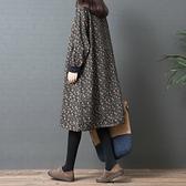 洋裝 女秋冬裝正韓寬鬆大碼印花高領打底裙棉麻加絨加厚洋裝-Milano米蘭