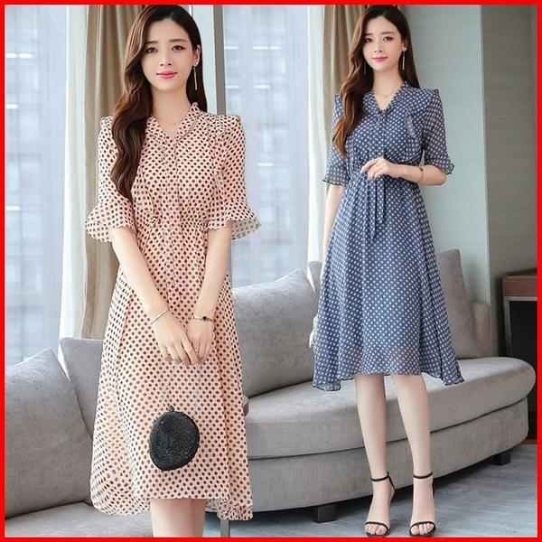 韓國風短袖洋裝 紅色波點雪紡連衣裙夏季中長款過膝小清新藍色連身裙 依多多