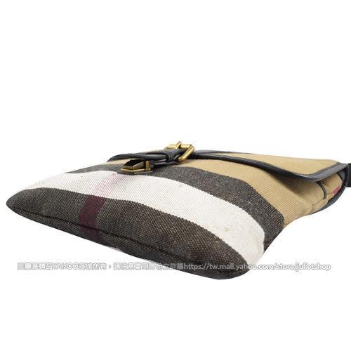 茱麗葉精品 全新精品BURBERRY 3976707 經典格紋棉麻皮飾邊翻蓋斜背包.黑邊