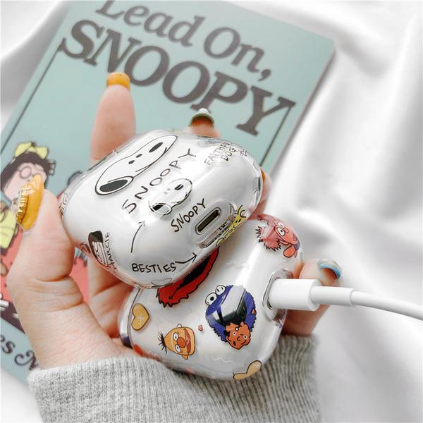 🍎 部分現貨 台灣發貨 🍎 獨家自制款 Airpods2 藍芽耳機保護套 蘋果無線耳機保護套 史努比透明套