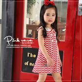 粉紅娜娜童裝 小童波浪紋印花背心洋裝S33571