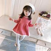 女童毛衣針織衫1-3歲格子2童裝女寶寶長袖連身裙韓版 蓓娜衣都