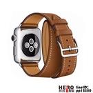 iwatch皮質雙圈適用蘋果手表錶帶apple watch1/2/3/4/5代【邦邦男裝】
