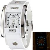 JAGA 捷卡 AQ81-D 指針錶 方型  冷光 鉚釘 雙層橡膠錶帶 34mm