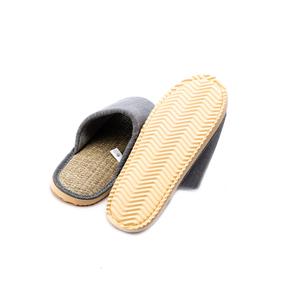 HOLA 簡約直條紋室內拖鞋-灰L