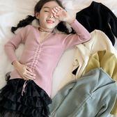 女童毛衣秋款小女孩中大童針織修身打底衫純色薄款米白色 森雅誠品