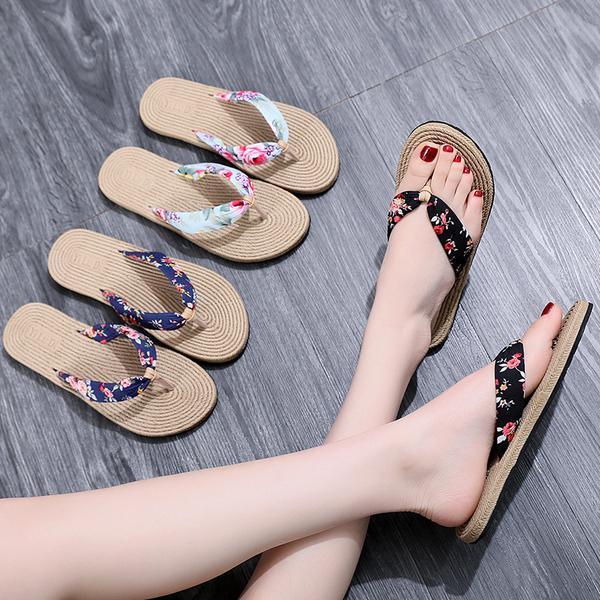 網紅人字拖鞋女夏外穿平底可愛度假沙灘鞋女拖鞋海邊防滑夾腳涼拖