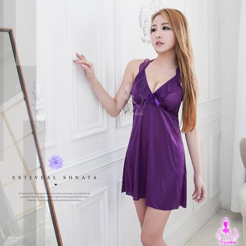 魅紫繞頸荷葉邊柔緞面睡衣《生活美學》