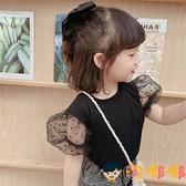 兒童泡泡紗短袖打底衫夏季女童波點T恤兒童喇叭袖上衣棉【淘嘟嘟】