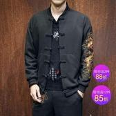中國風唐裝 青年刺繡外套 復古風漢服 男士套裝秋季夾克 民族服裝 父親節降價