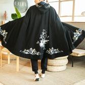 中國風毛呢刺繡披風斗篷帶帽大氅古裝男漢服唐朝風衣男長款外套冬 陽光好物