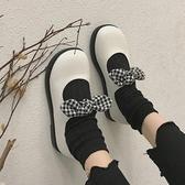 平底軟妹小皮鞋女 學院風大頭娃娃鞋韓版女單鞋蝴蝶 初秋新品