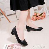 現貨出清工作鞋女黑色淺口中跟職業女鞋圓頭粗跟女士皮鞋女單鞋消費 8-22 qj