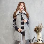 【ef-de】激安 可拆卸兔毛領無袖排釦罩衫(灰)