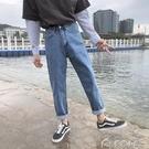 牛仔褲男牛仔褲男潮牌夏季垂感寬鬆直筒老爹褲韓版潮流港風修身百搭九分褲 多色小屋
