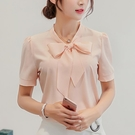 短袖襯衫 春夏新款韓版女裝修身大碼純色打底衫短袖襯衫女雪紡衫