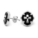 《QBOX 》FASHION 飾品【ECF069】精緻個性盾面十字架造型鑄造鈦鋼針式耳環