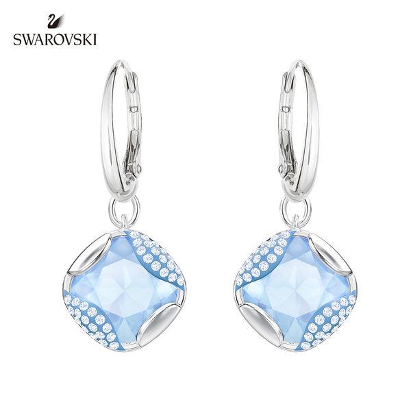 施華洛世奇 Heap Square 絢爛奪目藍色枕形水晶耳環