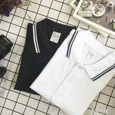 【小白家】夏日系短袖polo衫男女翻領t恤大碼保羅衫團隊活動定制 藍嵐