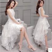 歐根紗夏白色甜美韓版蓬蓬燕尾前短后長時尚優雅蕾絲洋裝 DN9180【野之旅】