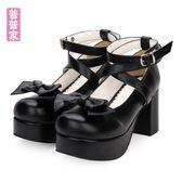 春夏款日系可愛Lolita鞋子洛麗塔小皮鞋蝴蝶結公主女仆高跟鞋9812