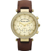 Michael Kors MK 美式奢華晶鑽三眼計時手錶-金 MK2249