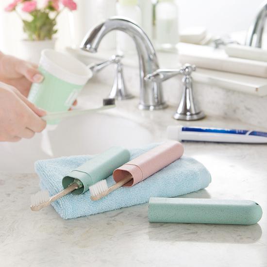 便攜隨身洗漱收納盒 牙刷 牙膏 旅行 出差 衛生 乾淨 文具 餐具 瀝水 透氣【G042-1】米菈生活館