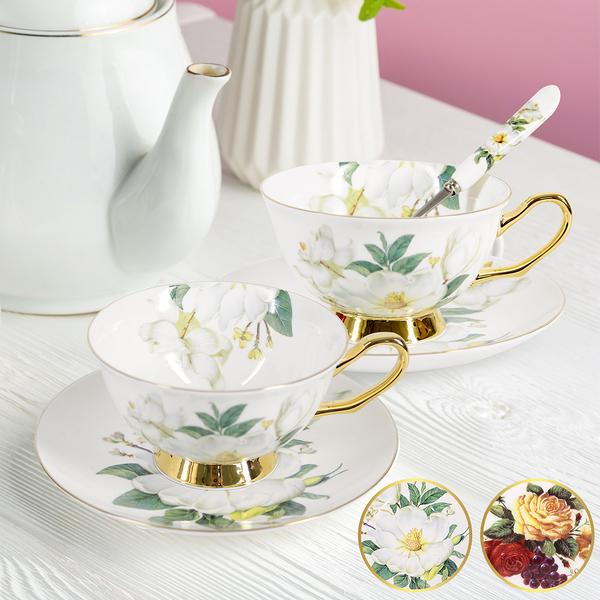 Artist精選 咖啡花茶陶瓷杯盤禮盒組(一盒2杯組)(MF0511)