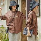 靜咖色亞麻襯衫/設計家 S9323