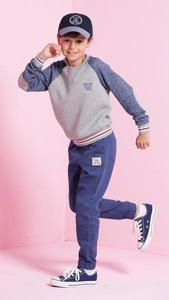 【BTIS】男拉克蘭袖菱格拼接圓領TEE