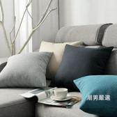 簡約亞麻抱枕客廳沙發靠墊床頭靠枕椅子靠背辦公室腰枕抱枕套