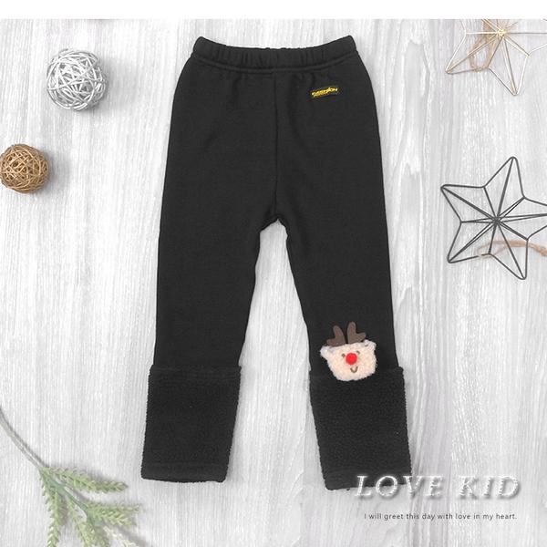 黑色素面毛絨褲管長褲 內搭褲 保暖 聖誕 麋鹿別針 可拆 男童長褲 女童長褲 厚 兒童長褲 冬童裝