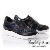 ★2018秋冬★Keeley Ann簡約舒適~雙色水鑽真皮軟墊休閒鞋(黑色) -Ann系列