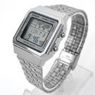 CASIO手錶 復古方型地圖銀色電子鋼錶NECE38