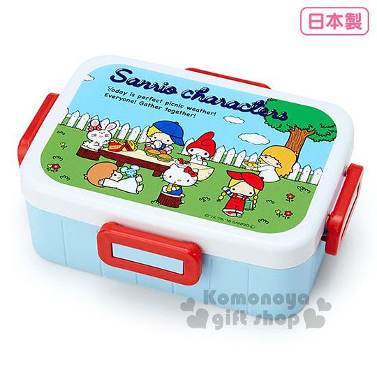 〔小禮堂〕Sanrio大集合 日製四面扣便當盒《白藍.野餐.650ml》可微波.Sanrio70年代人物系列 4973307-35995
