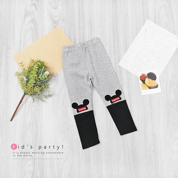米奇帽子拼接內搭褲 灰色 保暖 棉質 韓國棉 女童長褲 女童內搭褲 男童裝 米奇 卡通 韓版