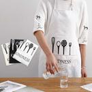 棉麻餐具圖騰圍裙 廚房 料理圍裙 烹飪 烘焙 咖啡廳 工作裙 工作服 飲料店【RS1114】