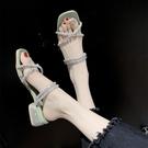 促銷全場九折 水鉆涼鞋女仙女風年新款夏天百搭兩穿網紅中粗跟一字扣帶鞋拖