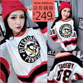 克妹Ke-Mei【AT56455】CRDSB80韓妞年輕感撞色棒球袖T恤洋裝