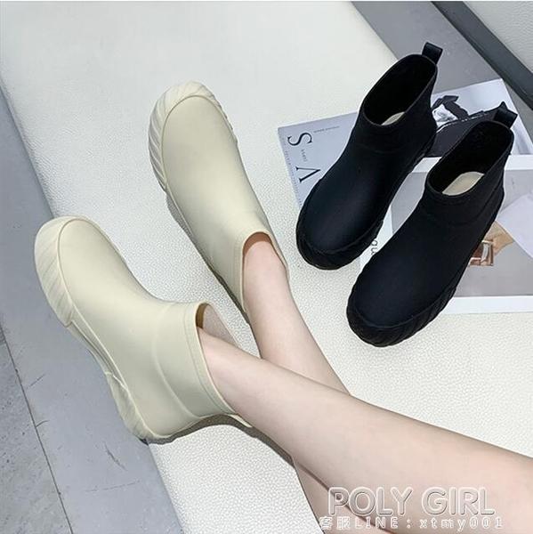 日系時尚雨鞋女冬防滑低筒水鞋水靴短筒雨靴洗車買菜廚房鞋膠鞋潮 poly girl