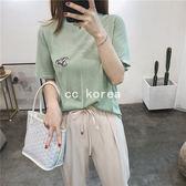 輕薄微透小飛象刺繡針織衫 CC KOREA ~ Q22940