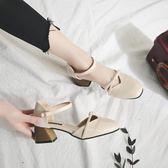 涼鞋女夏季學生百搭韓版粗跟一字扣女鞋2018新款軟妹港味中跟鞋子